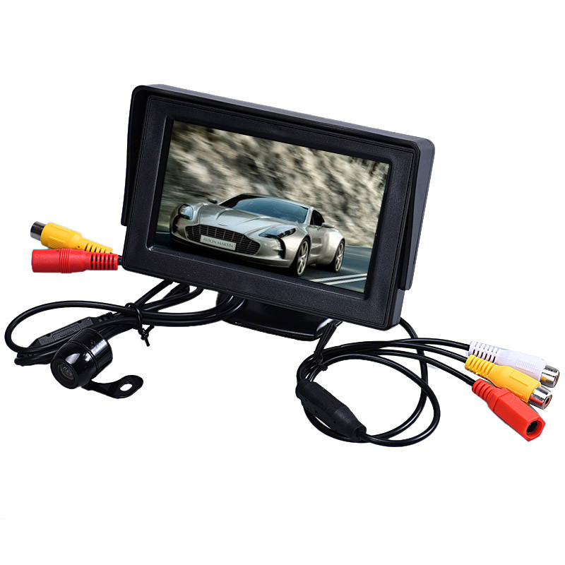 Tiptop New 4.3 Inch TFT LCD Monitor + Car Reverse Rearview Back Up Camera Parking Wireless Kits DEC6(China (Mainland))