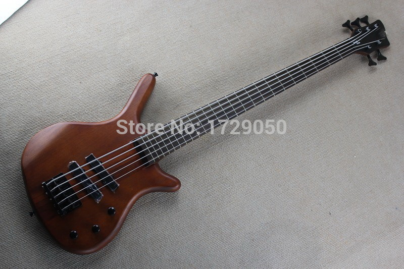 Free shipping Real photos Top quality one piece set neck And body W 5 String natural wood Dark brown electric bass guitar 1111<br><br>Aliexpress