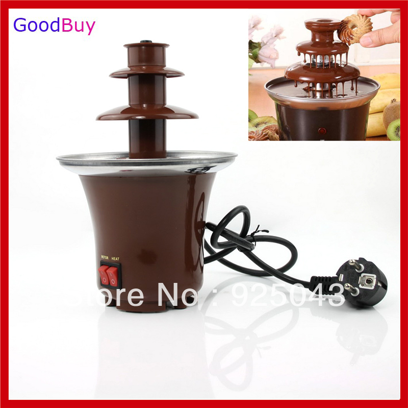 free shipping electric diy 220v 3 tier mini chocolate fountain fondue machine chocolate. Black Bedroom Furniture Sets. Home Design Ideas