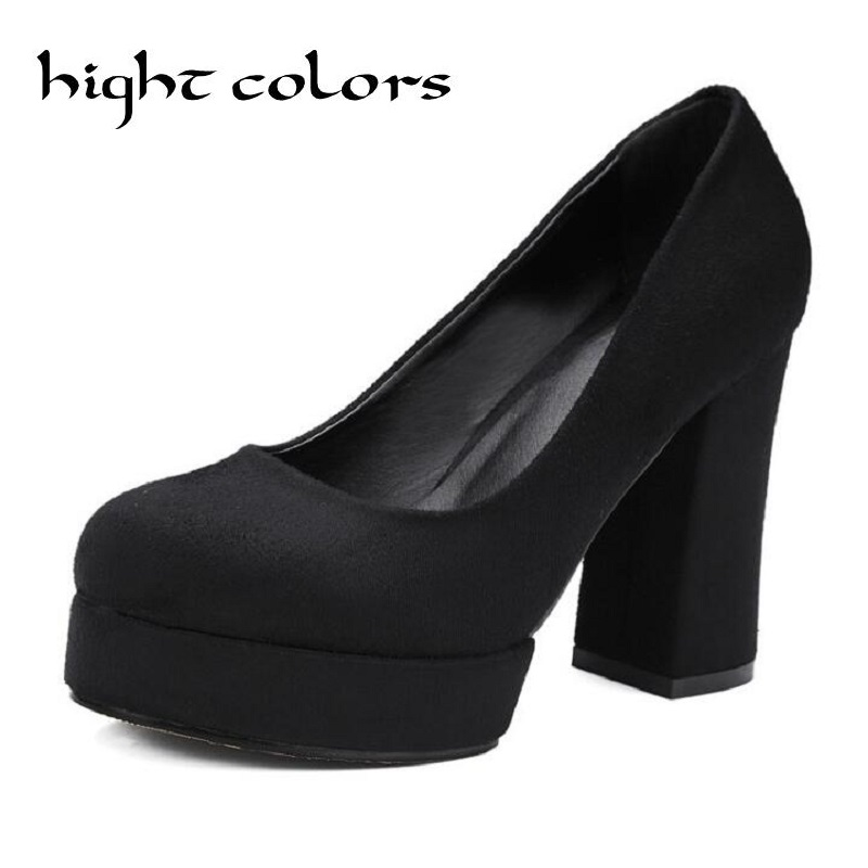 Women Pumps Black Brown High Heel Shoes Woman Elegant Round Toe Female Platform Shoes Casual Office Lady Shoes Square Heeled(China (Mainland))