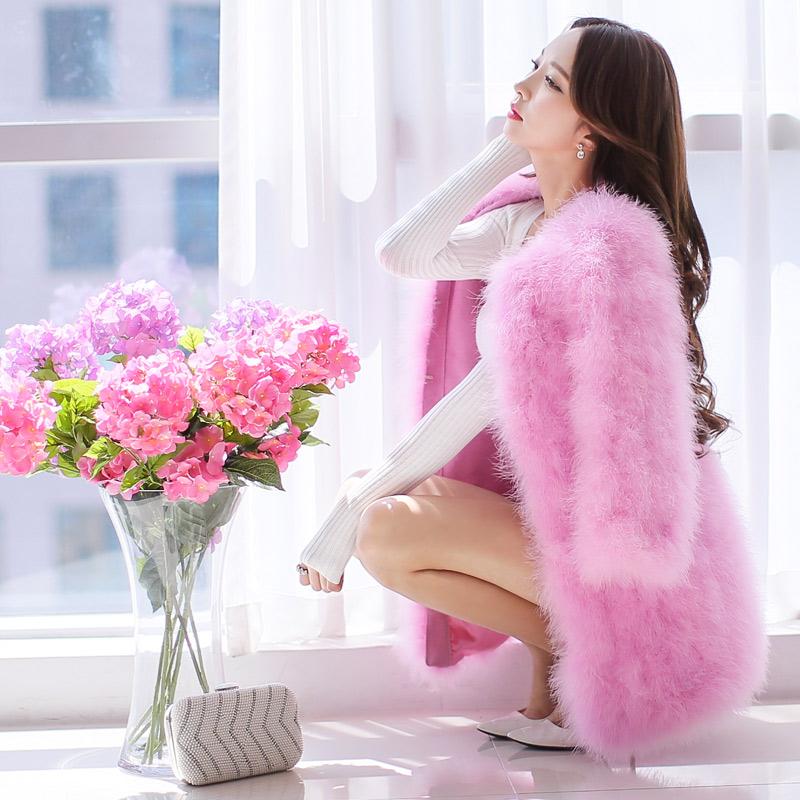 Original New 2016 Brand Winter Real Fur Rose Pink Plus Size Long Sleeve Slim Elegant Long Women Natural Fur Coat WholesaleОдежда и ак�е��уары<br><br><br>Aliexpress