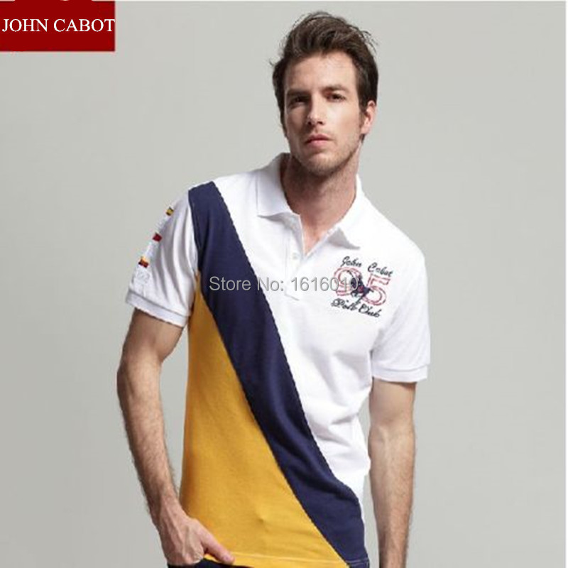 2015 Big Horse New Polo JOHN CABOT Men Cotton Mens Polo Shirts brands Short Sleeve Classic Contrast Color 3 Colors(China (Mainland))