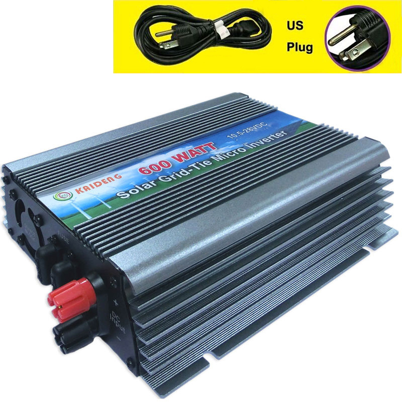600W Inverter Grid Tie Inverter Solar Power Inverter 600 Watt 180-260VAC Pure Sine Wave Inverter US Plug Kaideng GTI-600W(China (Mainland))
