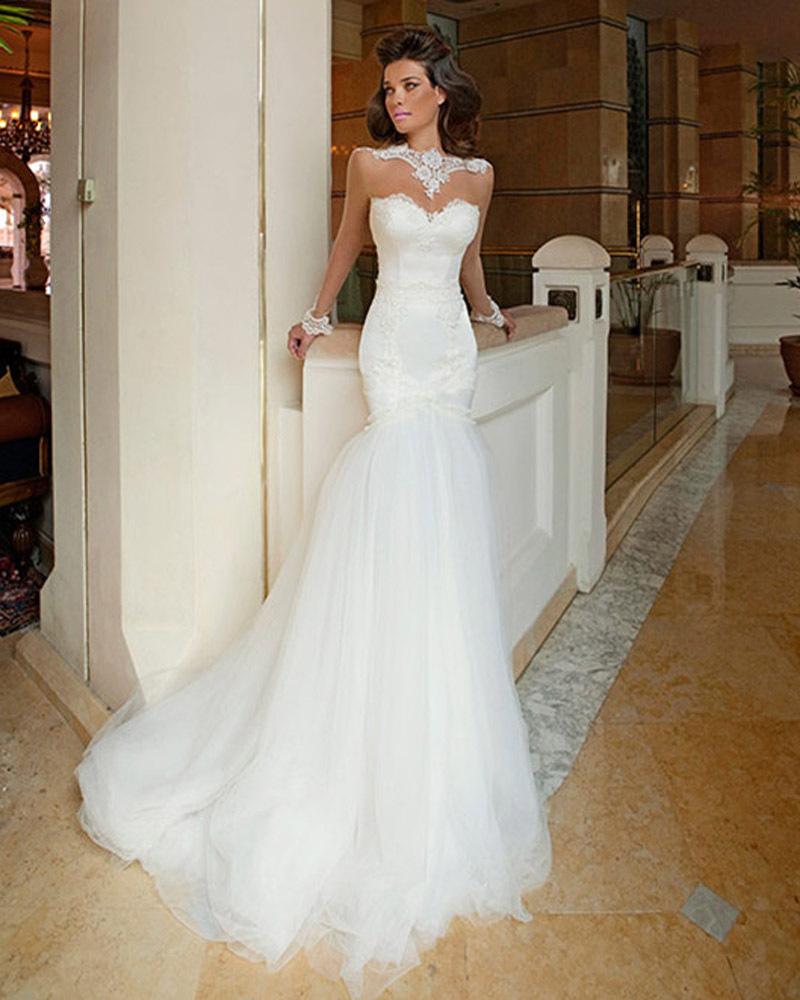 mermaid lace wedding dresses lace mermaid wedding dresses Stunning Strapless Detachable Skirt Mermaid Lace Wedding Dress