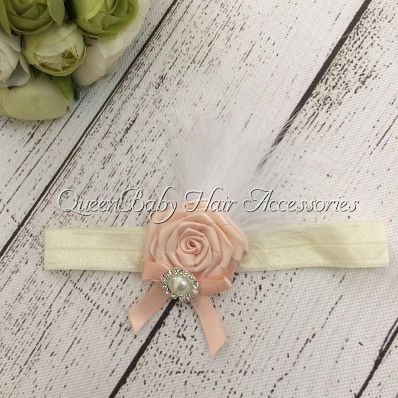 Retail 1pcs/lot Satin Flower Matching Sparking Rhinestone Feather Headband Baby Headband Luxe Headband(China (Mainland))