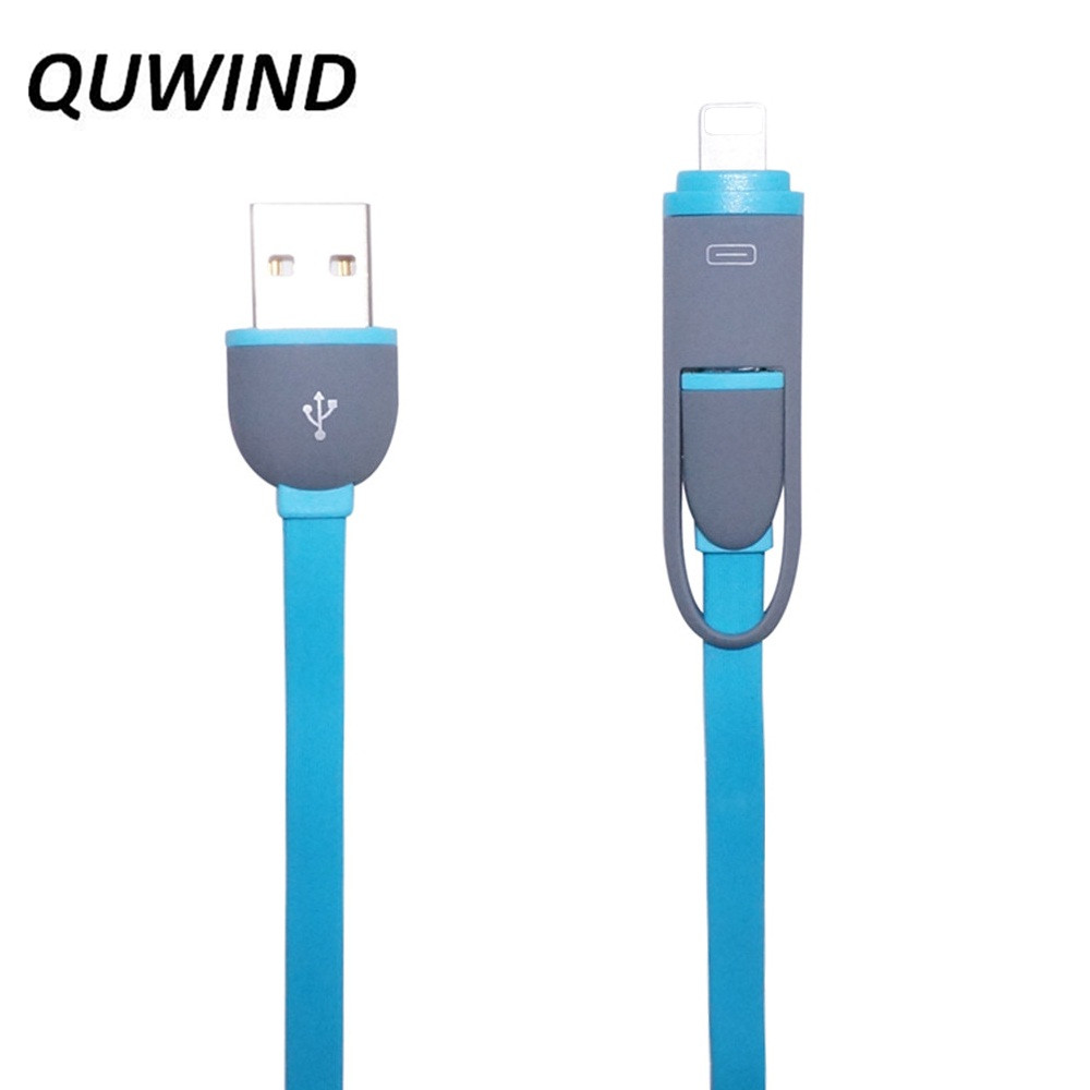 QUWIND Oval 1M USB to Micro USB Dual Interface Data Transfer Flat Cable for iPhone 5 6 6S Plus Samsung S4 S5 Note 4 5 Sony(China (Mainland))
