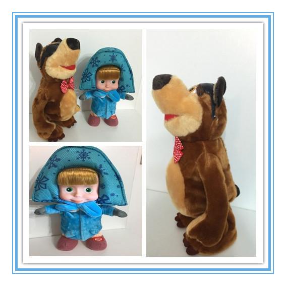 Masha Bear Figure Doll Bonecas Baby Alive Masha e orso Giocattol Juguetes Russian Cartoon Singing Talking Dancing Walking Doll(China (Mainland))