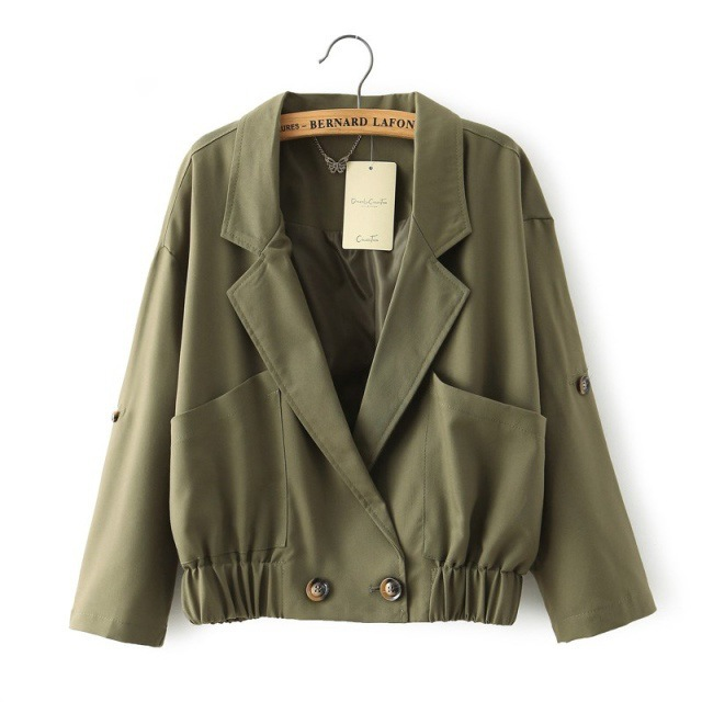 hipster army green short jacket kimono style women coat ...
