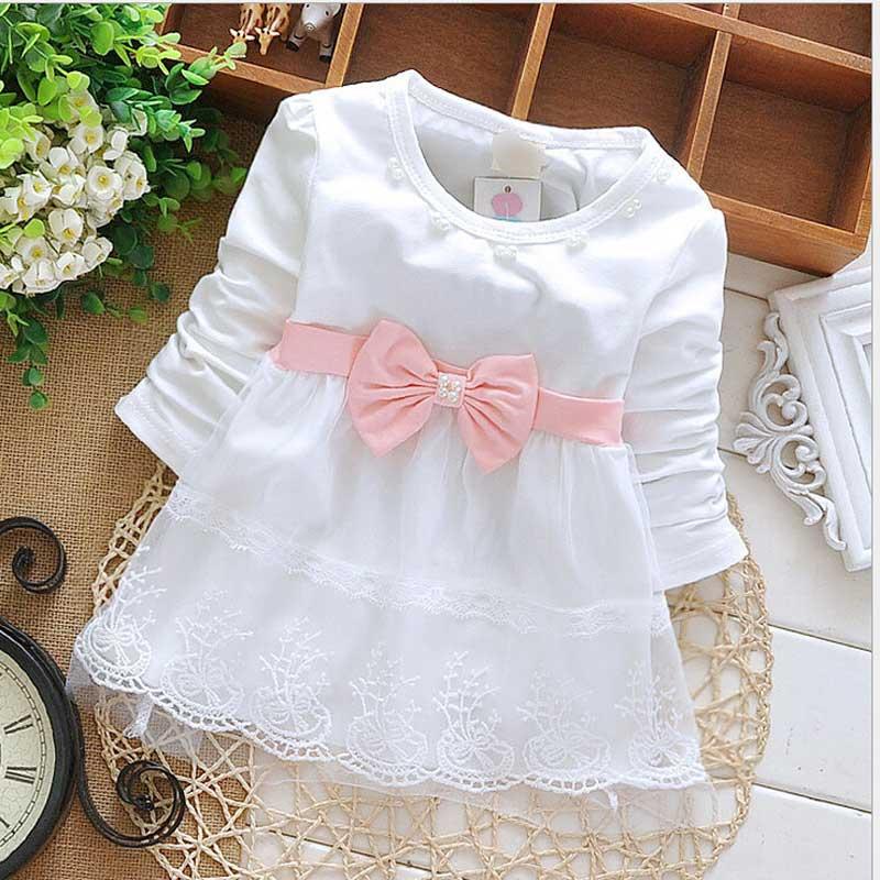 Гаджет  2015 Fashion Autumn Long Sleeve lace Bow cute baby Party Birthday girls kids Children dresses, princess infant  Dress S1853 None Детские товары