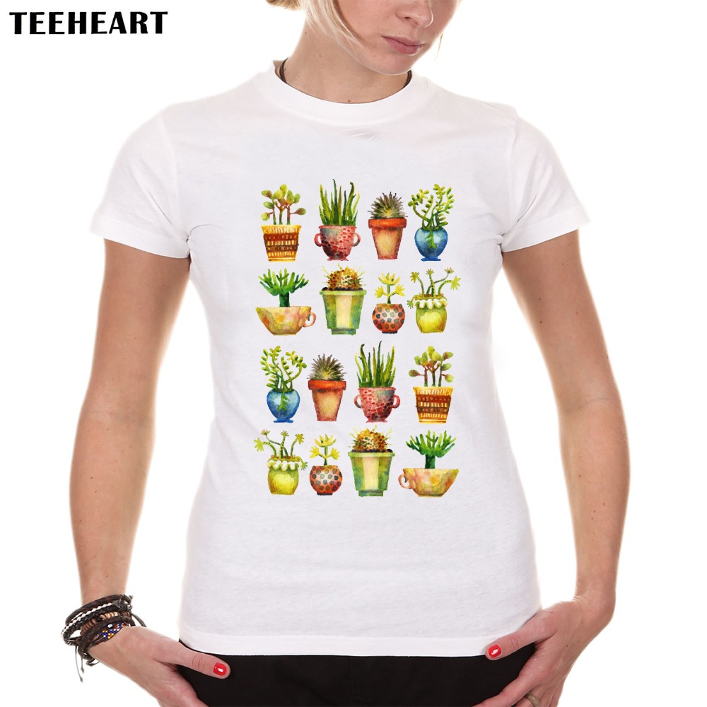 Shirt design cheap - Teeheart New Women Fashion Vivid Colourful Latest Design T Shirt Novelty Tops Plant Green Printed Short