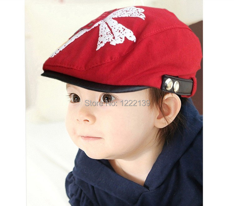 Hot cute kids children newsboy beret hat toddler cabbie beret gatsby visor cap leaves decoration(China (Mainland))