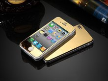 For IPhone 4 4s Front and Back High Quality Premium Mirror Electroplating Color Tempered Glass Screen Protector