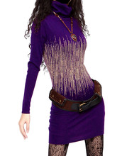 KEERQW Autumn Winter Vintage Long Sleeve Turtleneck Tunic Warm Elegant Bodycon DressesThick Wool Women Sweater Pencil Dress