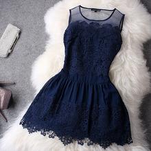 Women Summer Dress 2015 New Fashion O-Neck Sleeveless Dress Party Evening Elegant Lace Dress Plus Size Blue White(China (Mainland))