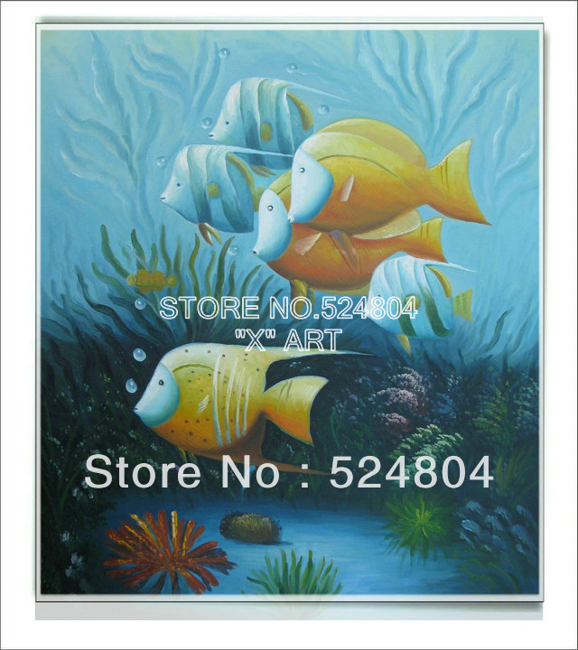 Panel Wall Art Digital Oil Painting Monroe Huge Number Of Fishes Swiming In Clear Sea SBO088(China (Mainland))
