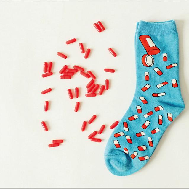 Марка Caramella нейтральный новинка таблетки носки смешные женщины и мужчины капсула мультфильм трубка носок хип-хоп пара хлопчатобумажные носки каваи носок