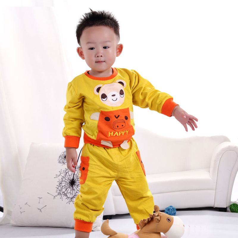 Male and female baby cotton suit jacket spring and summer new two-piece baby clothes can open files(China (Mainland))