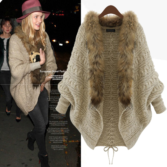 20% discount batwing sleeve cardigan cashmere fur collar loose medium-long plus size sweater outerwear - Lindsay lynn's store