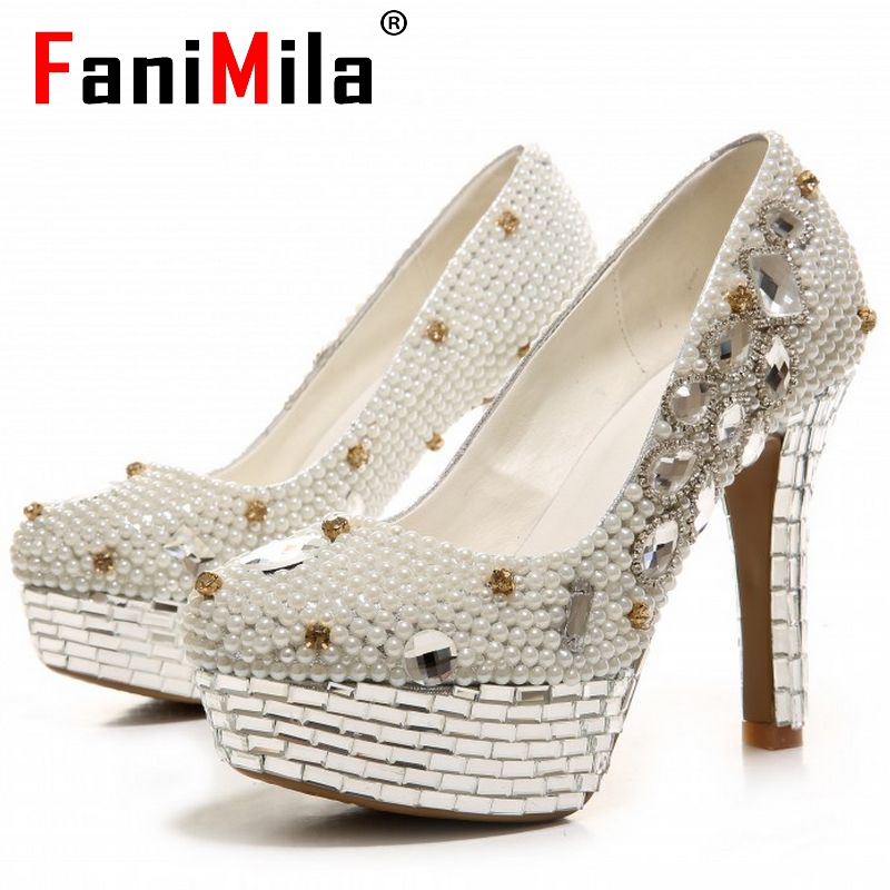 women platform real genuine leather pumps high heel wedding shoes woman ladies party stylish flowers pumps size 34-39 R08573<br><br>Aliexpress
