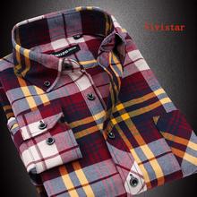 Flannel Men Shirts 2014 New Non Iron Luxury Slim Fit Long Sleeve Brand Formal Business Fashion Dress Plaid Shirts F0091