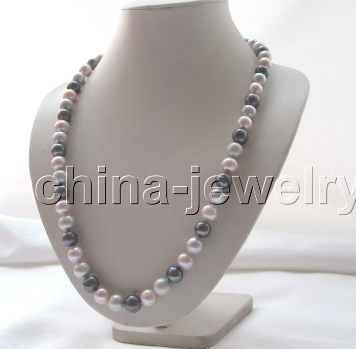 25 AAA 11mm natural gray purple black round freshwater pearl necklace - 925 sil^^^@^Noble style Natural Fine jewe FREE SHIPPING<br><br>Aliexpress