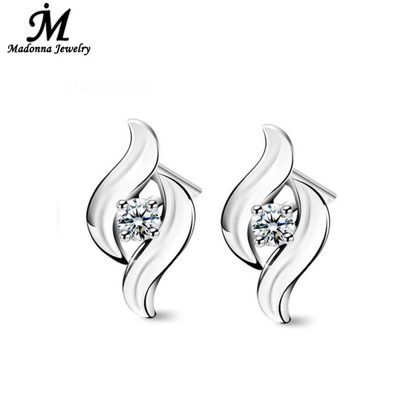 2016 Vintage AAA Crystal Double Foxtail Design Women Stud Earrings Mildly Silver Plated Party Ear Jewelry Pendientes(China (Mainland))