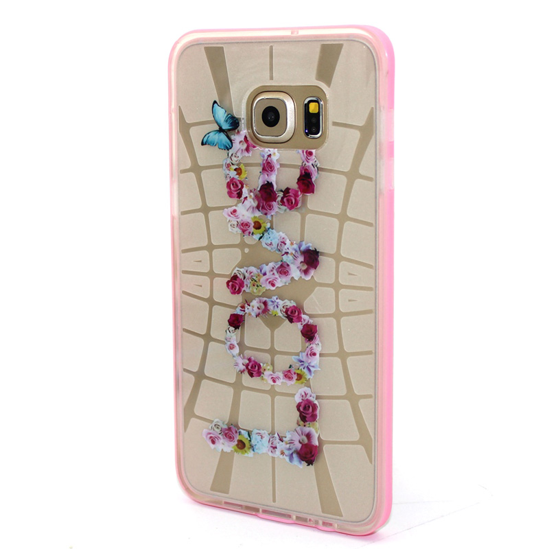 FOR Samsung Galaxy S6 Edge G9250 Blue butterfly cover TPU Rubber transparent line Love flowers case PC Pink frame phone case(China (Mainland))