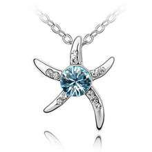 Fashion exquisite Austrian crystal jewelry crystal necklace - Starfish Love rhinestone necklace 081(China (Mainland))