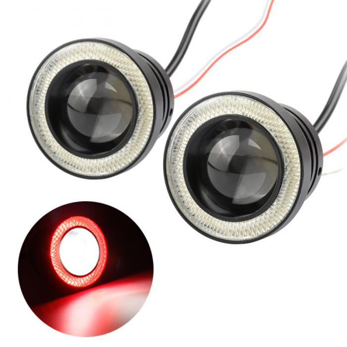 Купить 2 шт. Автомобилей 12 В 20 Вт 64/76/89 мм 2.5/3/3.5 Дюймовый Универсальный супер Яркий Автомобиль LED COB Противотуманные Фары Angel Eyes DRL Свет Лампы Фар CSL20