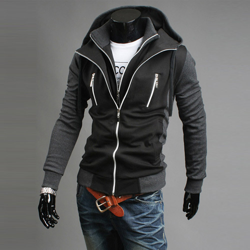 New 2015 autumn slim stand collar long sleeve sweater male cotton color block stand collar fashion