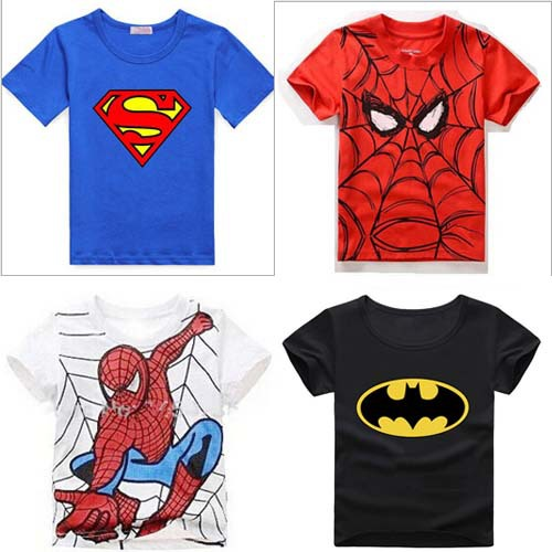 2015 Summer Spiderman T-shirt For Boy Short Sleeve Cartoon Superman Batman Children T Shirts Retail 1PC ZZ3021(Hong Kong)