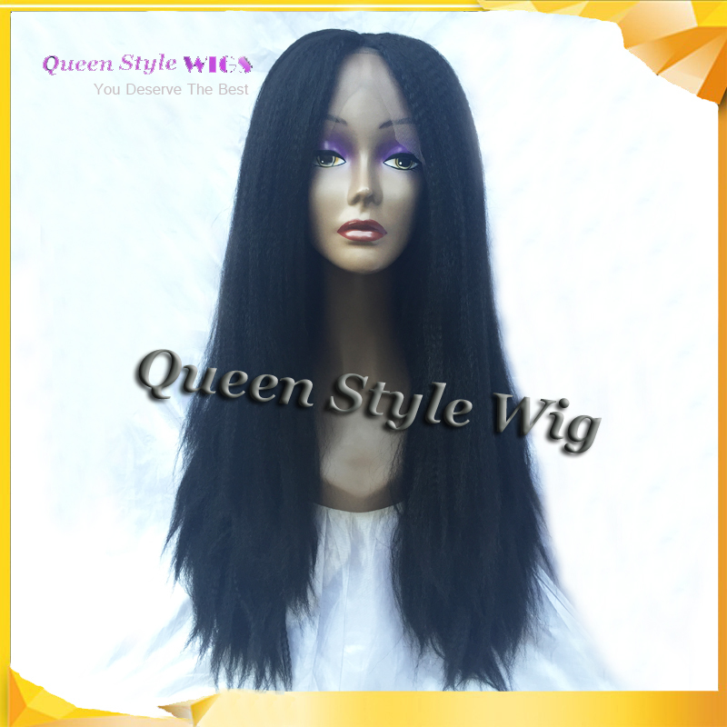 180% density hand woven Synthetic lace front wig Italian yaki kinky curl black color hair wig lace front wigs for black women(China (Mainland))