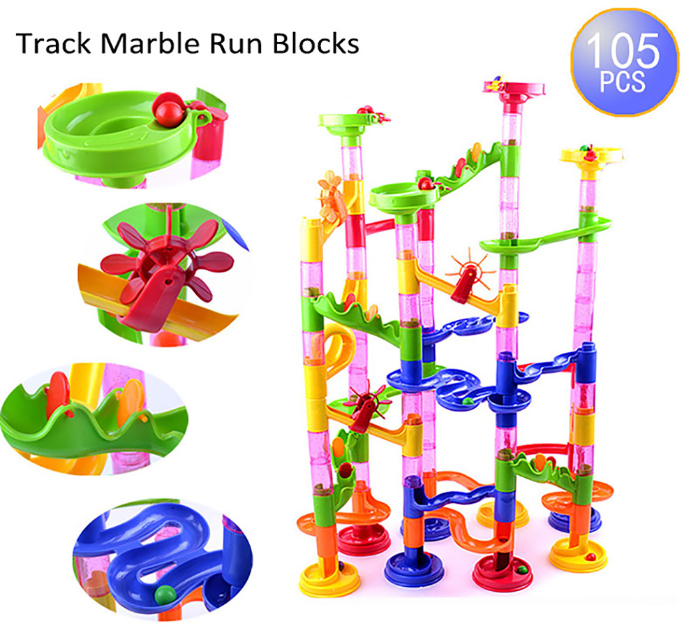 105pcs DIY Construction Marble Race Run Maze Balls Building Blocks Deluxe Marble Race Game Toys Kids Christmas Xmas Gifts 2016(China (Mainland))
