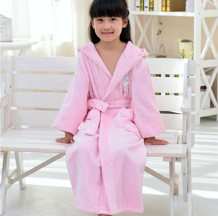 Kids Robes Cotton Bathrobe with Hat Rabbit Printed Homewear Loungewear Ropa De Casa Togas bata De Bano roupao de banho 4-12Y<br><br>Aliexpress