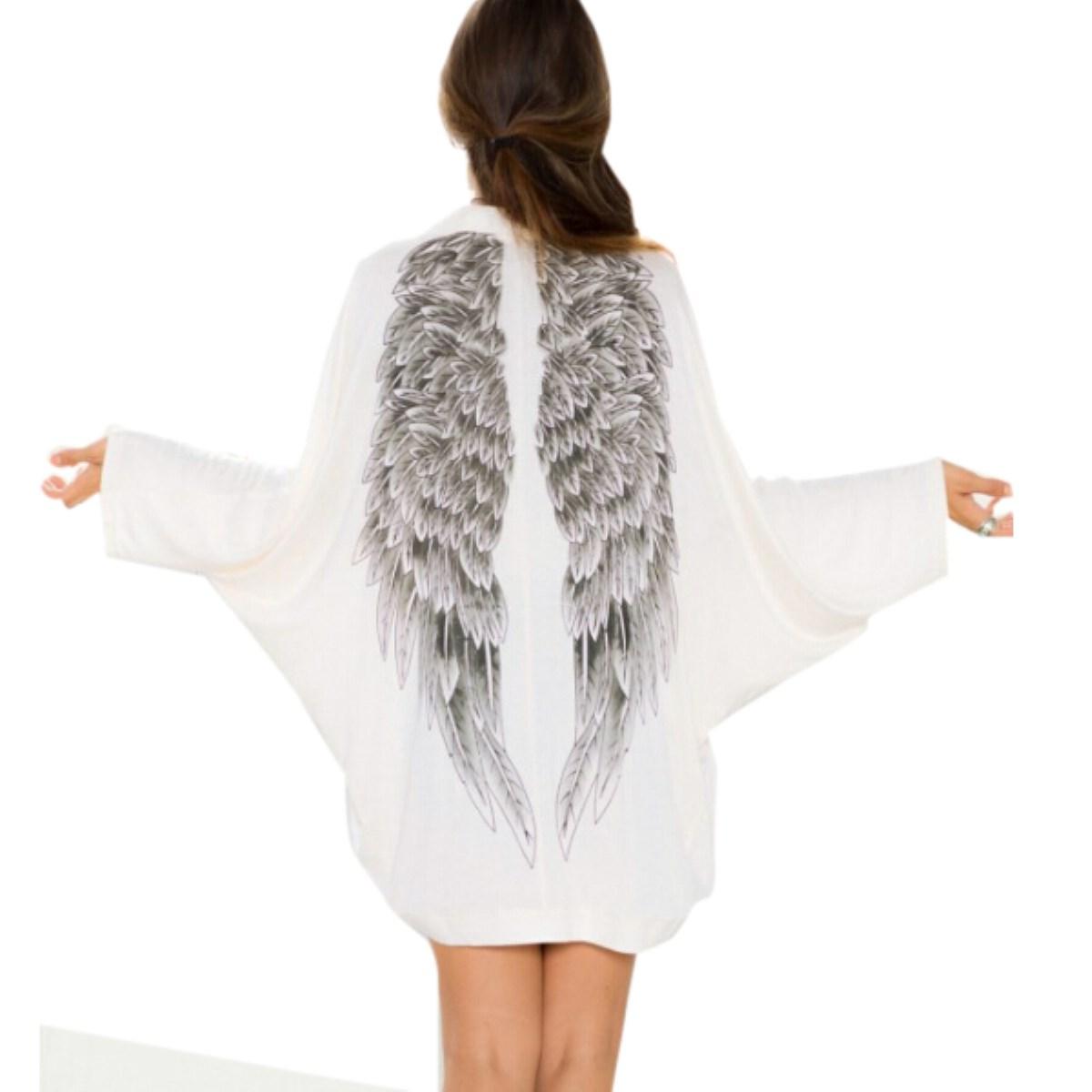 2015 Autumn Back Angel Wings Print Womens Cardigan European Fashion Loose Jacket Female Brand Casual Coat Femininas Sweater(China (Mainland))