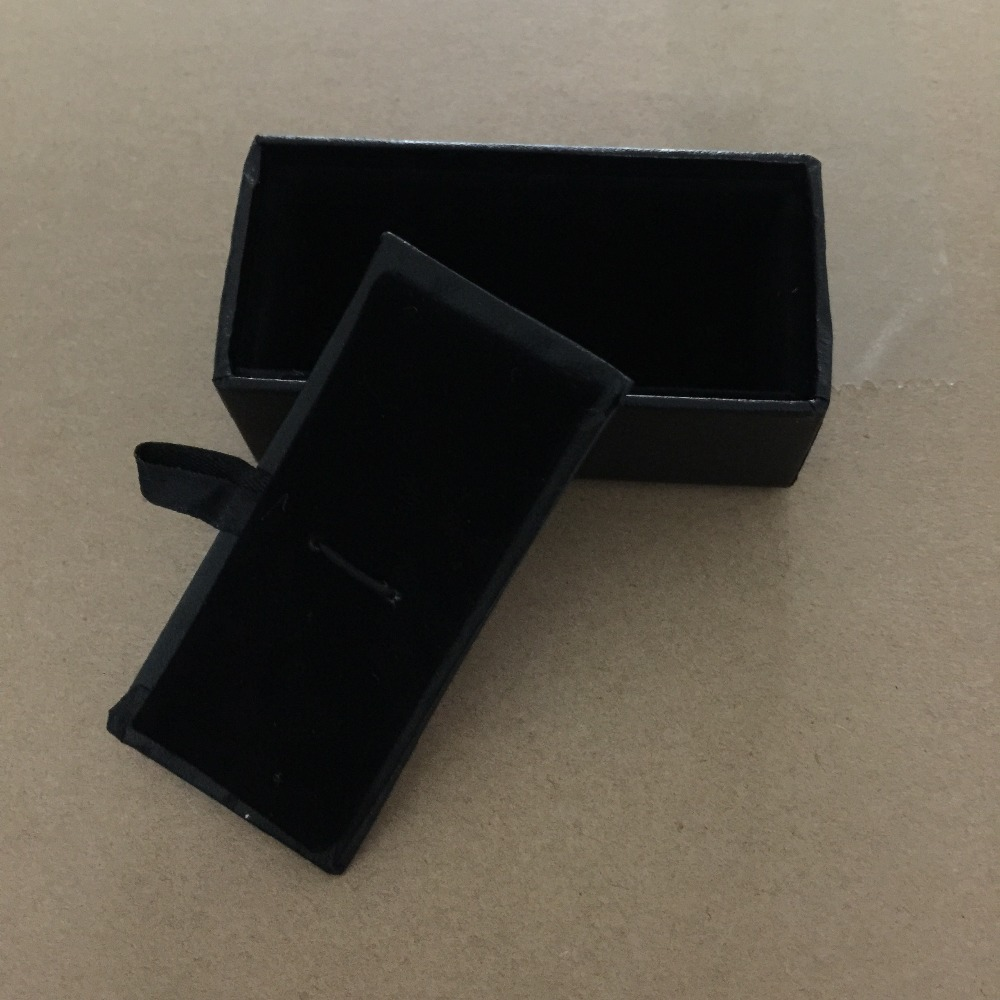 New Man Black Rectangle Faux Leather Small Tie Bar Box 60pcs/lot 8x4x3cm Gift Boxes for Men (SELL BOX ONLY)(China (Mainland))