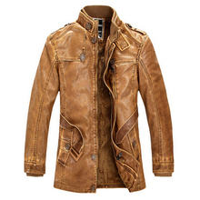 Leather Jacket Slim Warm Men washed Leather Motorcycle Standing Collar Jackets Coat Plus size 3XL Jaqueta De Couro outdoor parka()