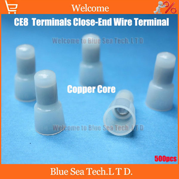500 Pcs Good Nylon Crimp Caps 8 AWG Gauge Wire Connectors CE8 Copper core Terminals Close-End Wire Terminal Free Shipping<br><br>Aliexpress
