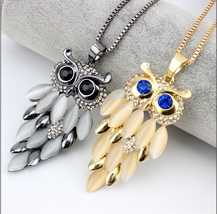 2016 New Fashion Long Owl Neckalce Coat Chain Women necklace High Quality Party Necklace(China (Mainland))