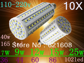 Free Shipping 10pcs/lot  E27 E14 6w 9w 12w 15w 25w  5050 SMD  Corn Bulb 110-220V 360 degree High Power Cool| Warm White