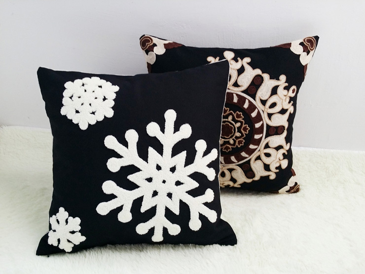 Modern White Snow Embroidery Black Cotton Cushion Cover