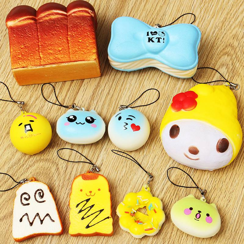 New Arrival Hot Sale Large 10PCS/SET Random Cute Lovely Soft Squishy For Cell phone Panda/Donut/Cake Charms Straps(China (Mainland))