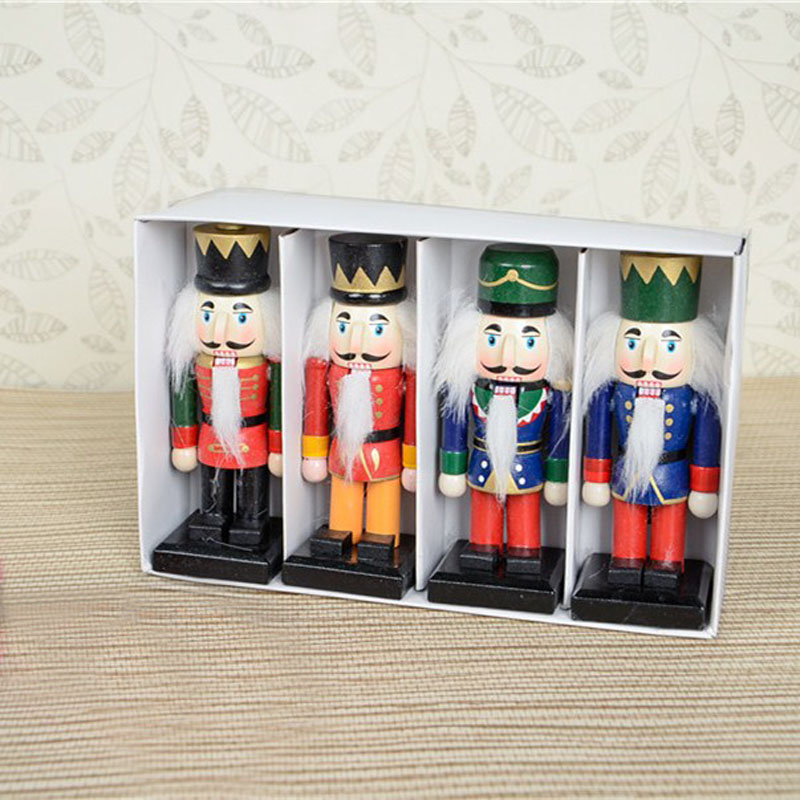 Set of 4 pieces Original Design Wooden Puppet Christmas Table Top Decoration 15 CM Height(China (Mainland))