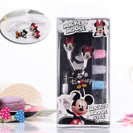 Cartoon Earphone Cute Minnie Mickey Mouse Headset 3.5mm In-ear Earbuds for iPhone Xiaomi Cellphone Mp3 for iPad free shipping(China (Mainland))