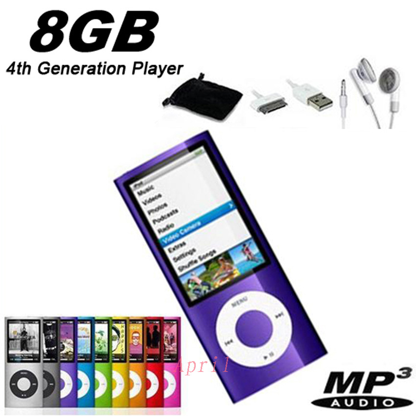"""New 8GB Slim 1.8"""" LCD Music video MP4 radio FM Player+earphone+data cable+free shipping(China (Mainland))"""