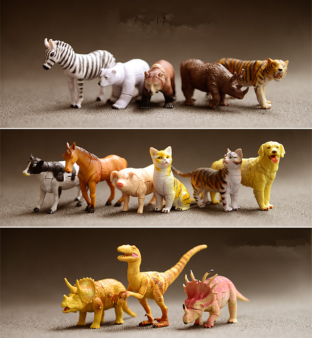 14pcs/bag Animals Zebra Cow Rhino Tiger Cat Dinosaur Dog PIG Bear Assembled DIY Mini Toy PVC Kids Toys Dolls PP BAG 5cm*8cm(China (Mainland))