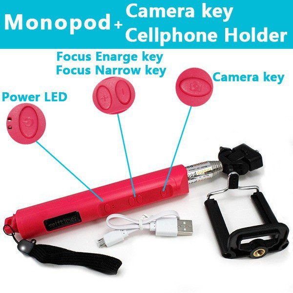 Bluetooth Zoom function self-timer self-timer lever control Handheld for Android 4.1 Smartphone 30PCS/LOT Free shipping(China (Mainland))