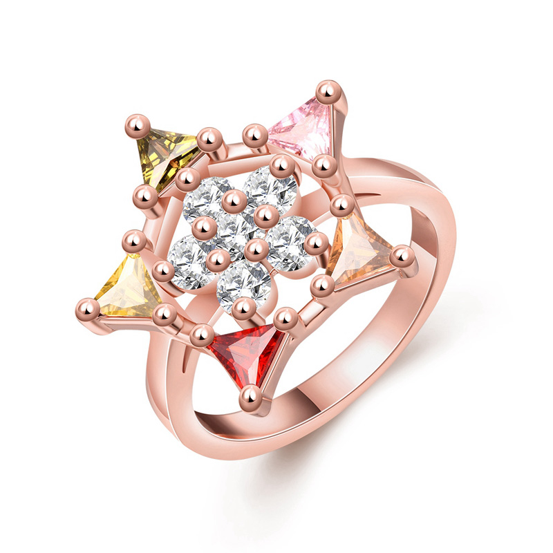 Female Luxury Party Ring With CZ Crystal Rose Gold Plated Colorful Hollow Star Rhinestone Wedding Finger Rings For Women Jewelry(China (Mainland))