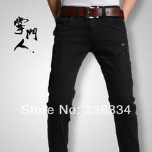 Free Shipping Wholesale 2014 New Fashion Cotton Casual Black Brand Denim Trousers Men's Jeans Pants NT31(China (Mainland))