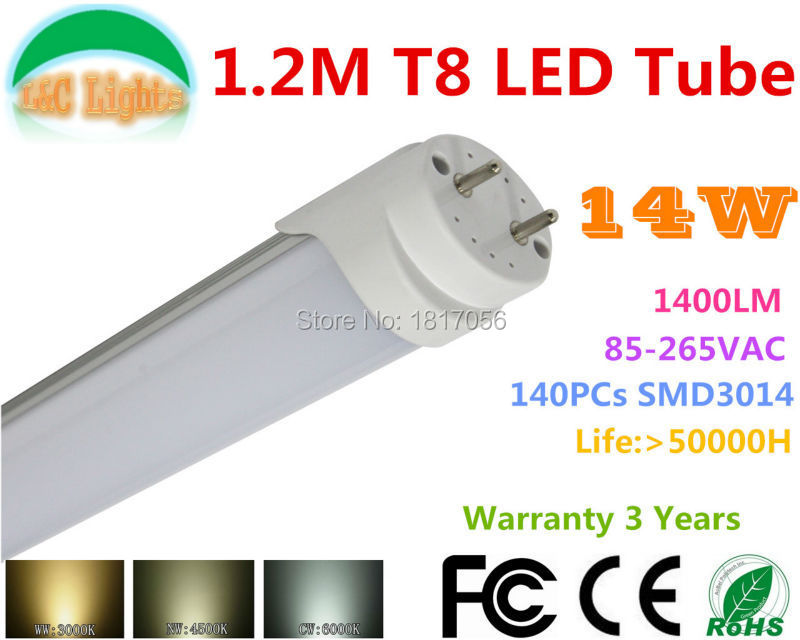 140PCs 3014 LED tube T8 lamp 14W 1200mm Replace the 40w fluorescent lamp tube compatible with inductive ballast remove starter(China (Mainland))